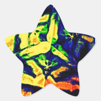 Mélange abstrait de couleur sticker étoile