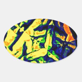Mélange abstrait de couleur sticker ovale