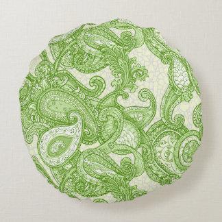 Melange Paisley in Green Round Pillow