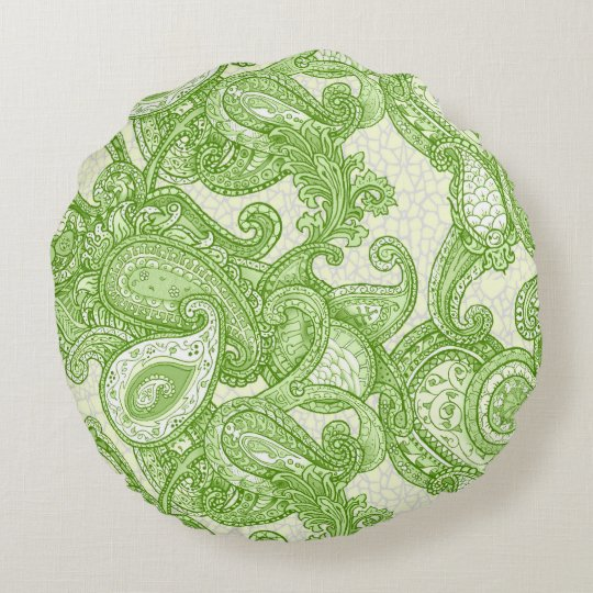 Melange Paisley in Green Round Pillow