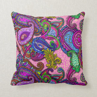 Melange Paisley with pink Throw Pillow
