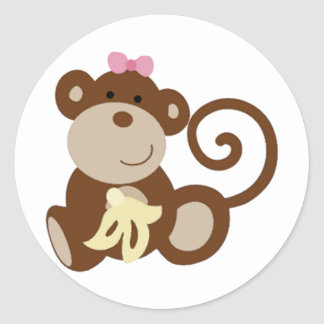 Melanie Monkey Girl Classic Round Sticker