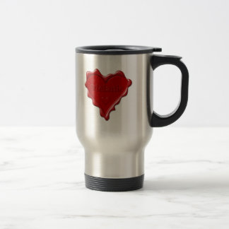 Melanie. Red heart wax seal with name Melanie Travel Mug