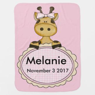 Melanie's Personalized Giraffe Baby Blanket