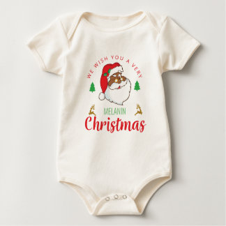 Melanin Christmas afrocentric Santa Baby Bodysuit