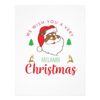 Melanin Christmas afrocentric Santa Letterhead