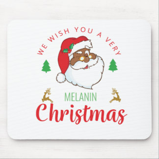 Melanin Christmas afrocentric Santa Mouse Pad