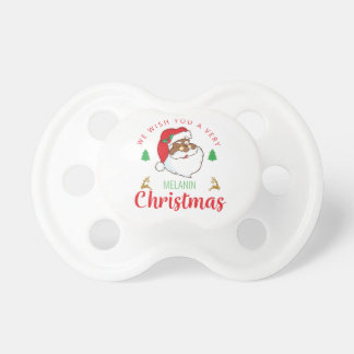 Melanin Christmas afrocentric Santa Pacifier