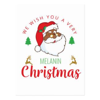 Melanin Christmas afrocentric Santa Postcard