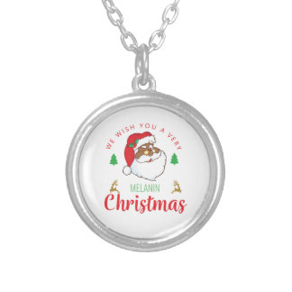 Melanin Christmas afrocentric Santa Silver Plated Necklace