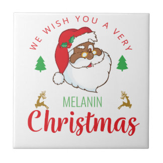 Melanin Christmas afrocentric Santa Tile