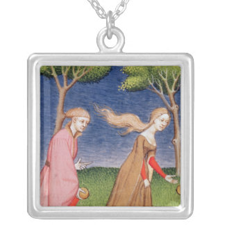 Melanion races against Atalanta Silver Plated Necklace