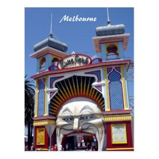 melb luna park face postcard