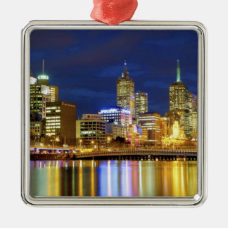 Melbourne, Australia. A nighttime view of the 2 Silver-Colored Square Ornament
