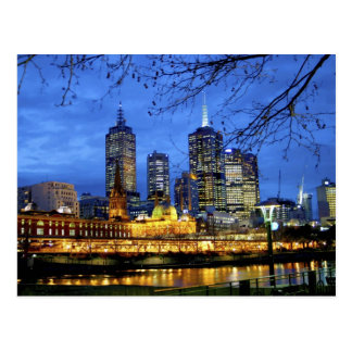 Melbourne, Australia. A nighttime view of the Postcard