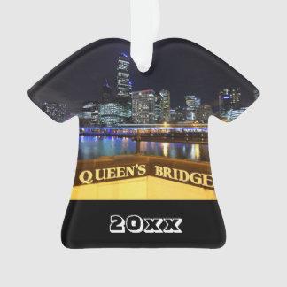Melbourne Australia CBD Lights over Queen's Bridge