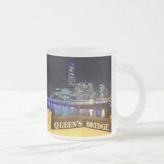 Melbourne Australia CBD Lights over Queen's Bridge Frosted Glass Coffee Mug