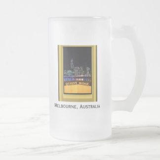 Melbourne Australia CBD Night Lights 16 Oz Frosted Glass Beer Mug
