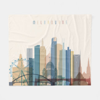 Melbourne, Australia | City Skyline Fleece Blanket