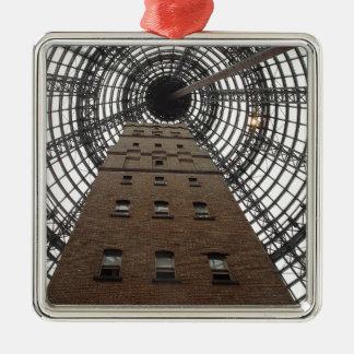 Melbourne Central Historic Shot Tower Silver-Colored Square Ornament