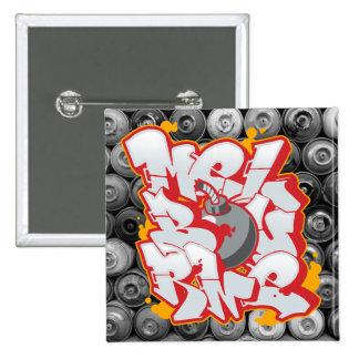 Melbourne Graffiti Bubble Letters 2 Inch Square Button