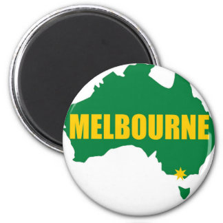 Melbourne Green and Gold Map Magnet
