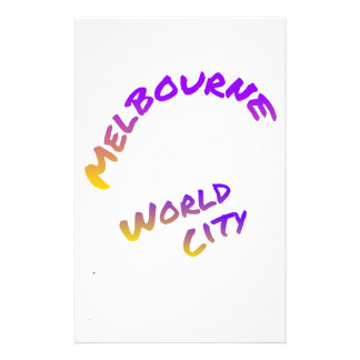 Melbourne Melbourne world city,  colorful text art Stationery