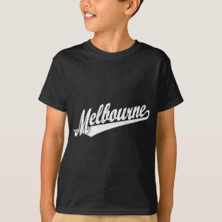 Melbourne script logo in white distressed T-Shirt