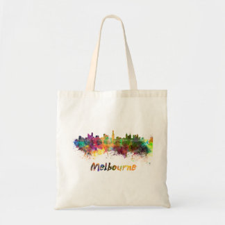 Melbourne skyline in watercolor tote bag
