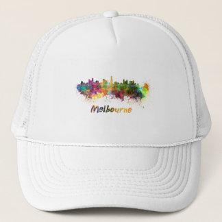 Melbourne skyline in watercolor trucker hat