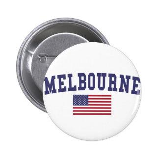 Melbourne US Flag 2 Inch Round Button