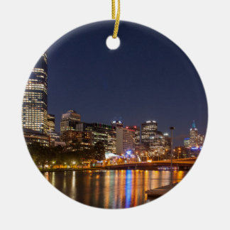 Melbourne' Yarra River at night Ceramic Ornament