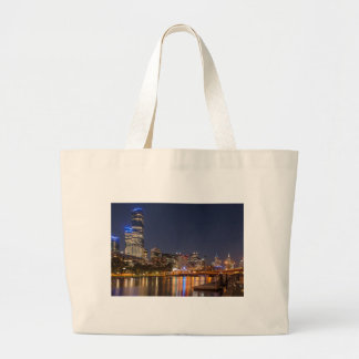 Melbourne' Yarra River at night Large Tote Bag
