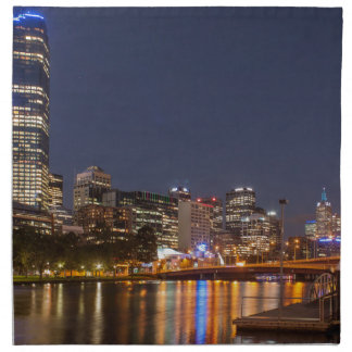 Melbourne' Yarra River at night Napkin
