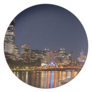 Melbourne' Yarra River at night Plate