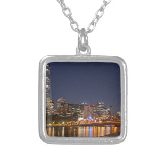 Melbourne' Yarra River at night Silver Plated Necklace