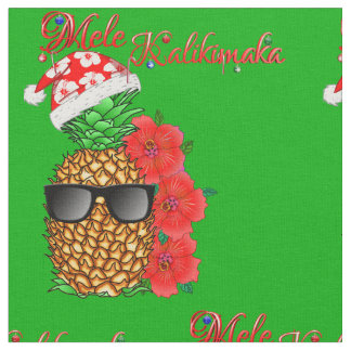Mele Kalikimaka Christmas Pineapple Fabric