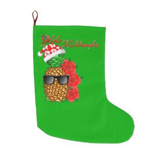 Mele Kalikimaka Christmas Pineapple Large Christmas Stocking