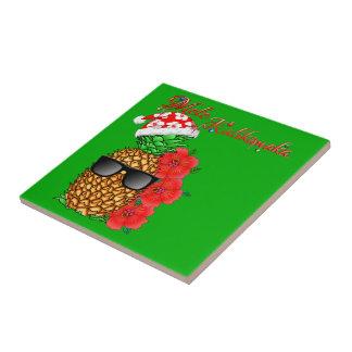Mele Kalikimaka Christmas Pineapple Tile