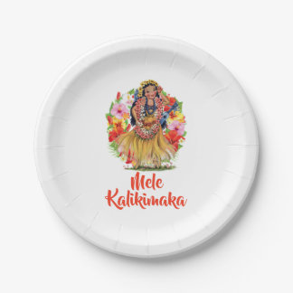 Mele Kalikimaka Hawaain Merry Christmas Paper Plate