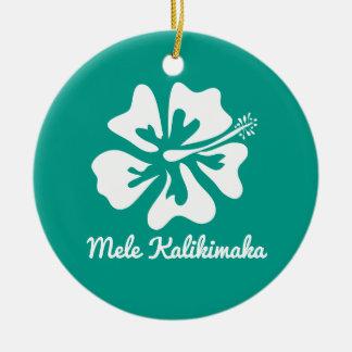 Mele Kalikimaka Hawaiian flower Christmas Holiday Ceramic Ornament