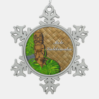 Mele Kalikimaka Hawaiian Tiki Pewter Ornament