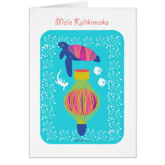 Mele Kalikimaka (Merry Christmas) turtle, fish, Card