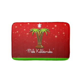 Mele Kalikimaka Palm Tree for Xmas Bath Mat