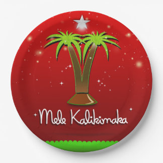 Mele Kalikimaka Palm Tree for Xmas Paper Plate