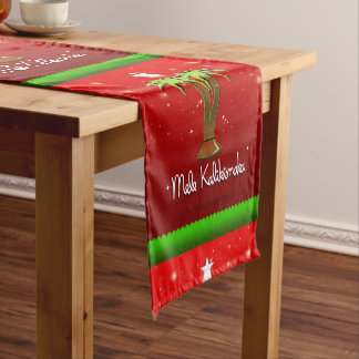 Mele Kalikimaka Palm Tree for Xmas Short Table Runner