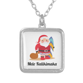 Mele Kalikimaka Silver Plated Necklace