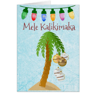 Mele Kalikimaka Tropical Christmas Palm Tree Card