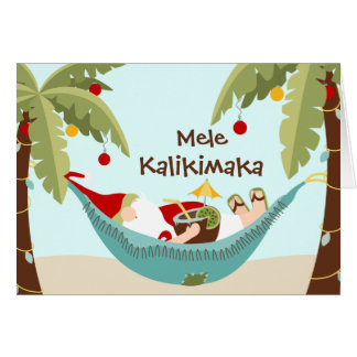 Mele Kalikimaka Tropical Santa Card