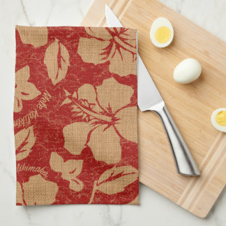Mele Kalikimaka Vintage Pareau Hawaiian Hibiscus Kitchen Towel